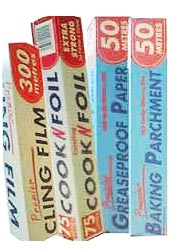 tin foil greaseproof paper and cling film